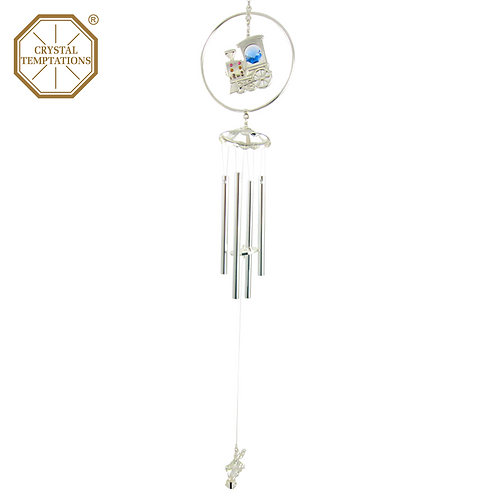 Silver Plated Train with Swarovski Crystal Wind Chimes