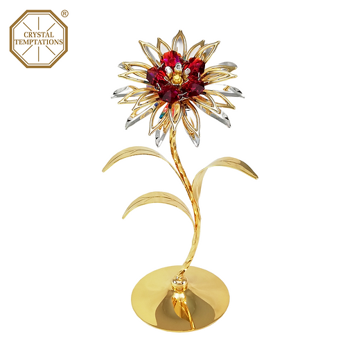24K Gold Plated Figurine Flower with Swarovski Crystal
