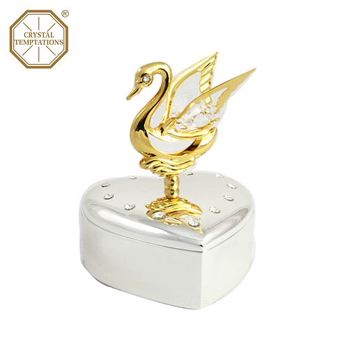24K Gold & Silver Plated Figurine Swan Box with Swarovski Crystal
