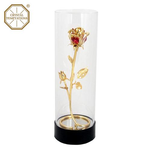 24K Gold Plated Figurine Rose with Swarovski Crystal