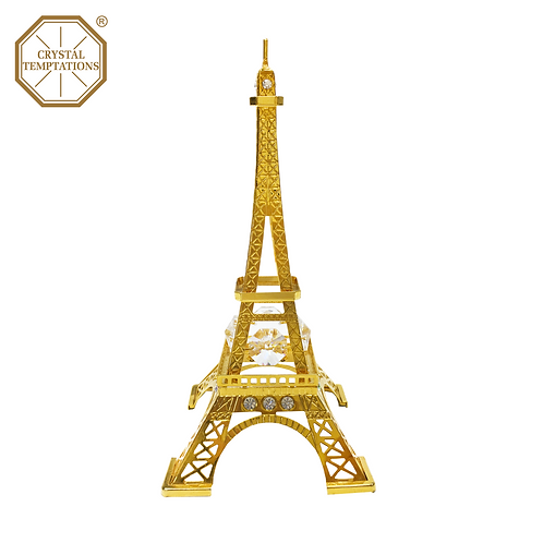 24K Gold Plated Eiffel Tower Figurine and decorated with Swarovski Crystal