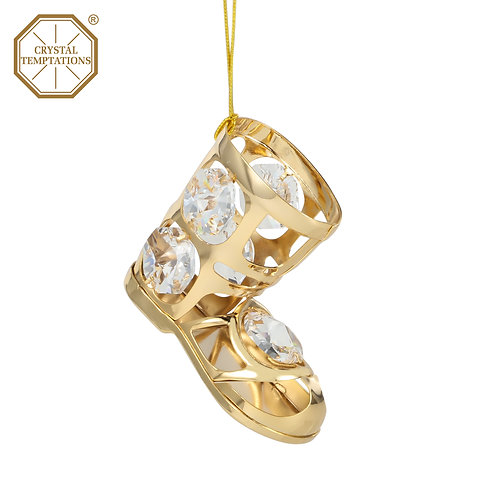 24K gold plated Christmas Bootswith clear Swarovski crystal