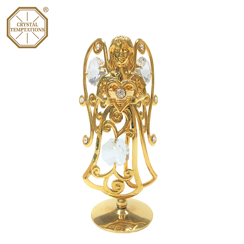 24K Gold Plated Figurine Angel(heart) with Swarovski Crystal