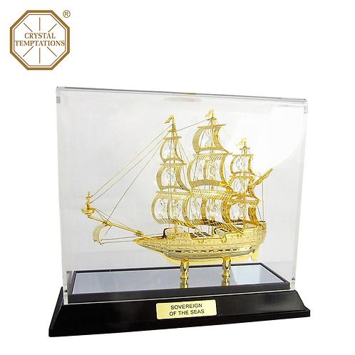 24K Gold Sailboat with Swarovski Crystal