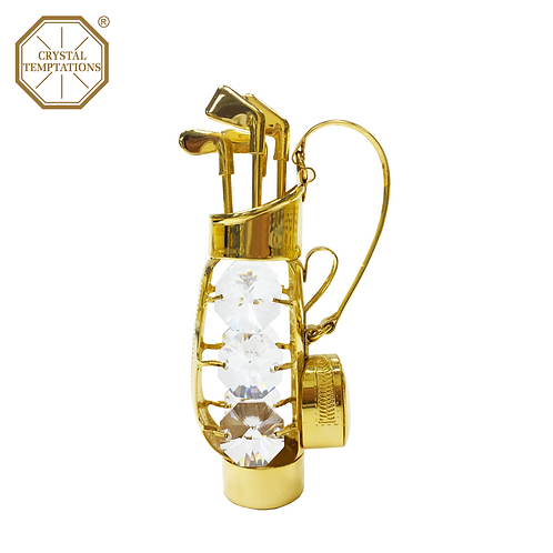 24K Gold Plated Golf Bag with Swarovski Crystal