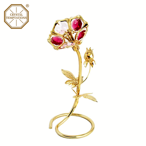24K Gold Plated Figurine Morning Glory with Swarovski Crystal