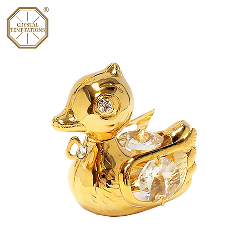 24K Gold Plated Figurine Baby Duck with Swarovski Crystal