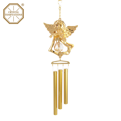 24K Gold Plated Angel play violin with Swarovski Crystal Wind Chimes