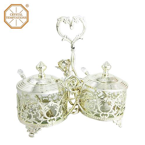 Silver Plated Kitchenware Sugar Bowl with Swarovski Crystal