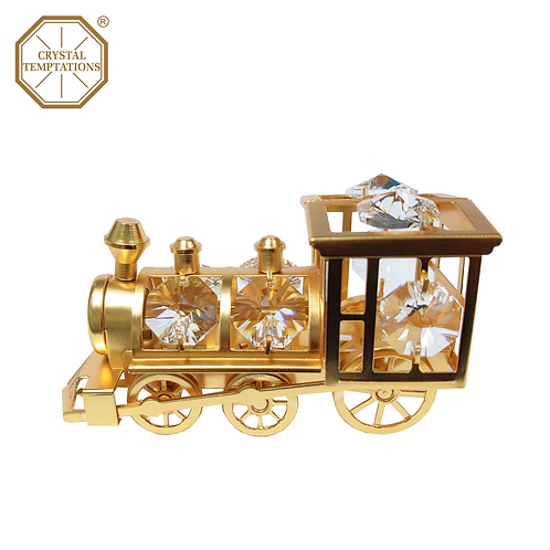 Matted Gold colour plated Decoration Train with Swarovski Crystal