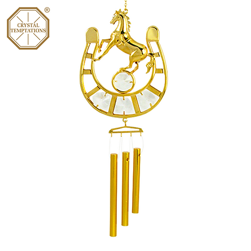 24K Gold Plated Horse with Swarovski Crystal Wind Chimes