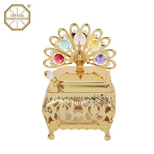 24K Gold Plated Kitchenware Peacock Sugar Bowl with Swarovski Crystal