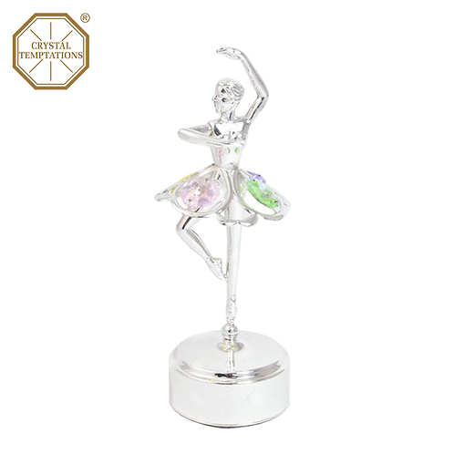 Silver Plated Lacquered Ballerina with Swarovski Crystal Music Box