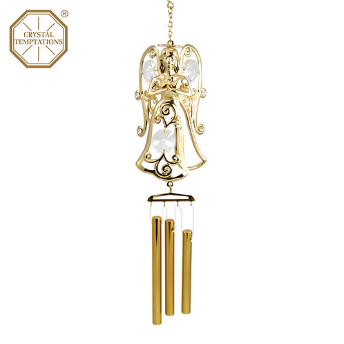 24K Gold Plated Angel with Swarovski Crystal Wind Chimes