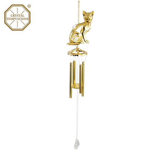 24K Gold Plated Cat with Swarovski Crystal Wind Chimes