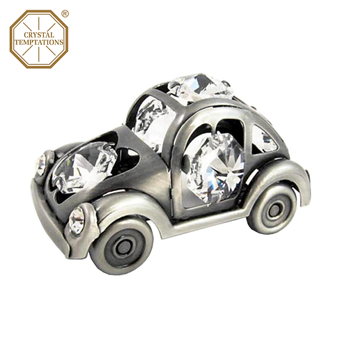 Pewter Plated Decoration 1938s Beetle Car with Swarovski Crystal
