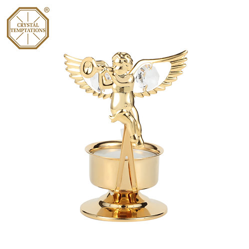 24K Gold Plated Tea Light Holder Angel with Swarovski Crystal