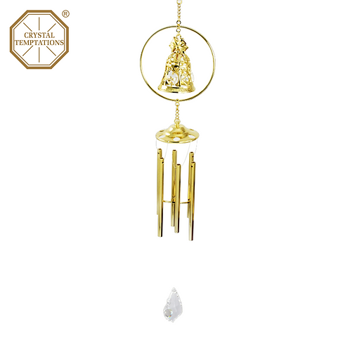 24K Gold Plated Wedding Bell with Swarovski Crystal Wind Chimes