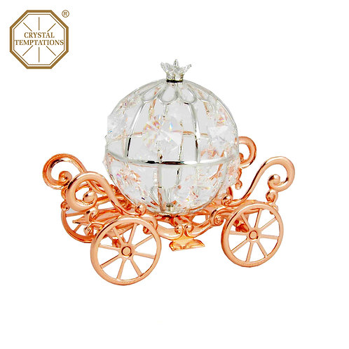 Silver & Rose Gold Plated Decoration Pumpkin Carriage with Swarovski Crystal