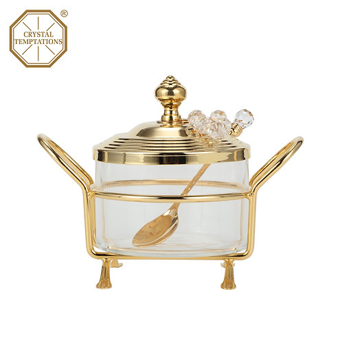 24K Gold Plated Kitchenware Sugar Bowl with Swarovski Crystal