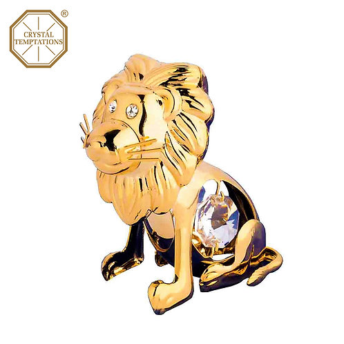 24K Gold Plated Figurine Baby Lion with Swarovski Crystal