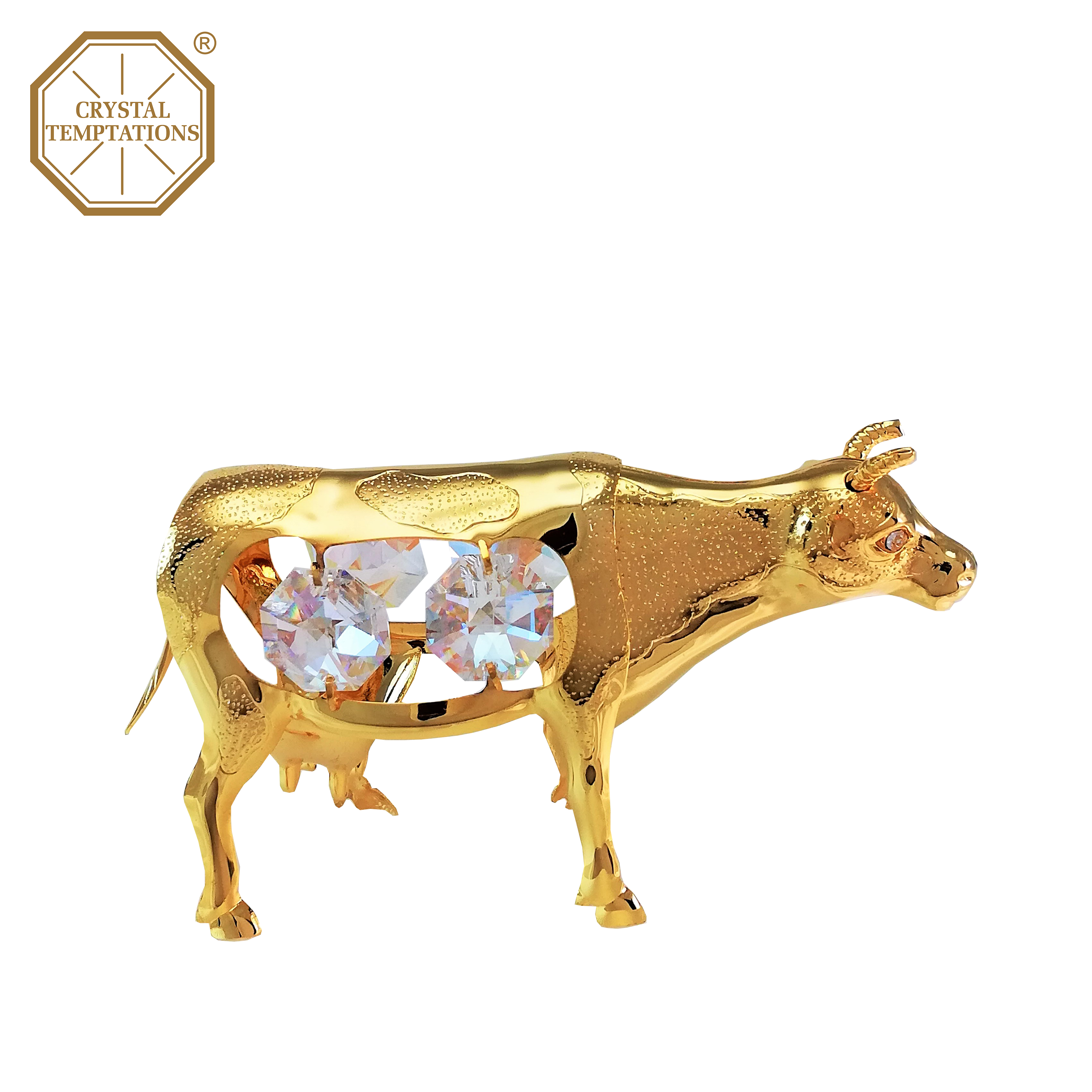 24k Gold Plated Figurine Ox With Swarovski Crystal Crystal Temptations Union Metal Hk