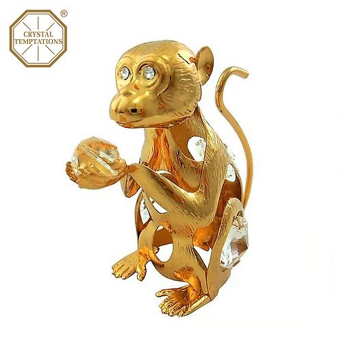24K Gold Plated Figurine Monkey with Swarovski Crystal