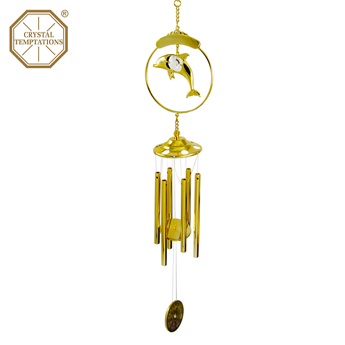 24K Gold Plated Dolphin with Swarovski Crystal Wind Chimes