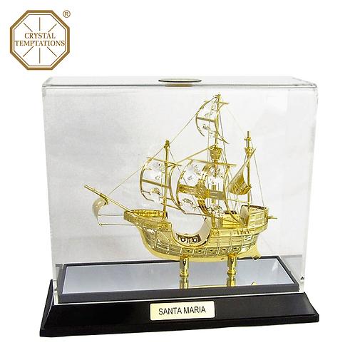 24K Gold Pirate Ship with Swarovski Crystal