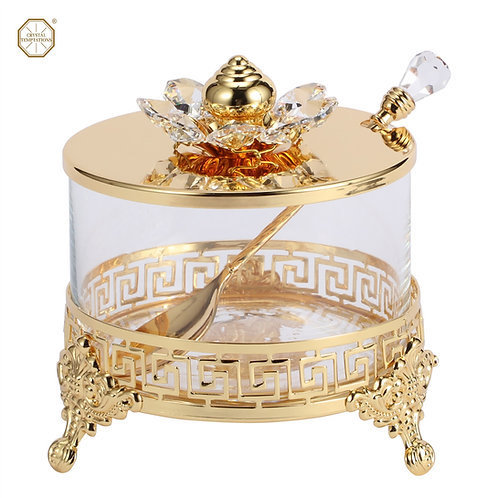 24K Gold plated iron sweet bowl decorated with crystal flower