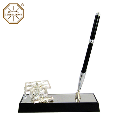 Silver Plated Graduation Hat with Swarovski Crystal Pen Stand