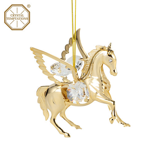 24K gold plated Pegasus ornament with clear Swarovski crystal