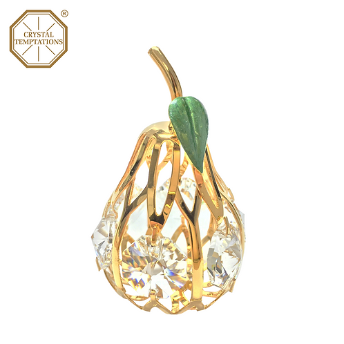 24K Gold Plated Figurine Pear with Swarovski Crystal