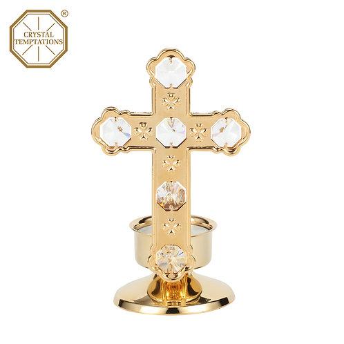 24K Gold Plated Tea Light Holder Cross with Swarovski Crystal