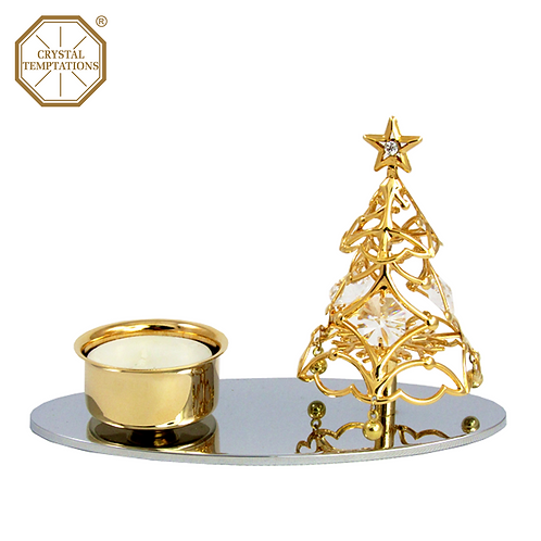24K Gold Plated Tea Light Holder Christmas Tree with Swarovski Crystal