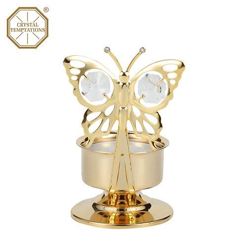 24K Gold Plated Tea Light Holder Butterfly with Swarovski Crystal