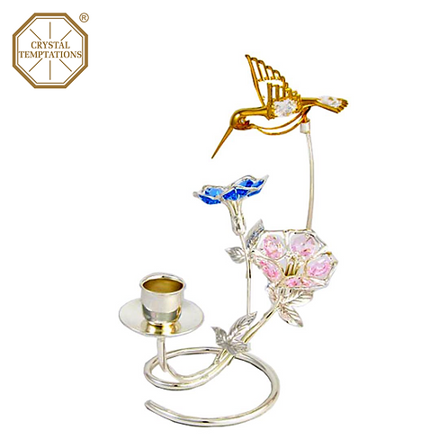 Silver Plated Candle Holder Butterfly & Morning Glory with Swarovski Crystal