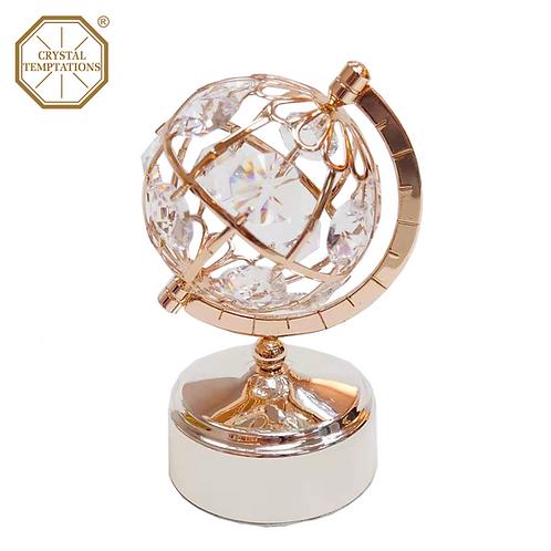 Rose Gold Plated Globe with Swarovski Crystal Music Box