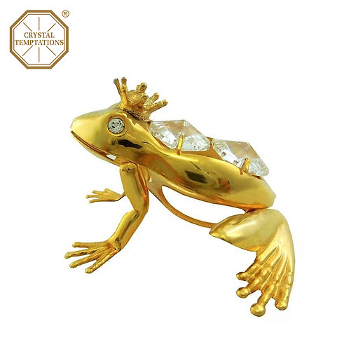 24K Gold Plated Figurine Frog with Swarovski Crystal