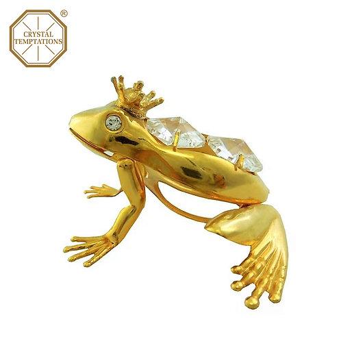 24K Gold PlatedFigurine Frog with Swarovski Crystal