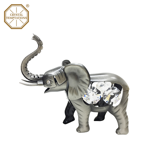 Pewter Plated Figurine Elephant with Sawrovski Crystal