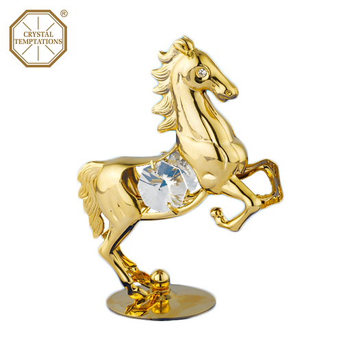 24K Gold Plated Figurine Horse with Swarovski Crystal