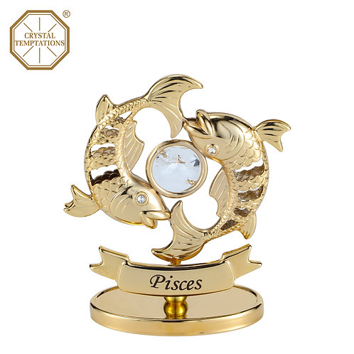 24K Gold Plated Figurine Pisces with Swarovski Crystal