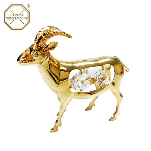 24K Gold Plated Figurine Ram with Swarovski Crystal