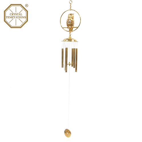 24K Gold Plated Owl with Swarovski Crystal Wind Chimes