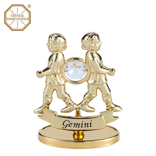 24K Gold Plated Figurine Gemini with Swarovski Crystal