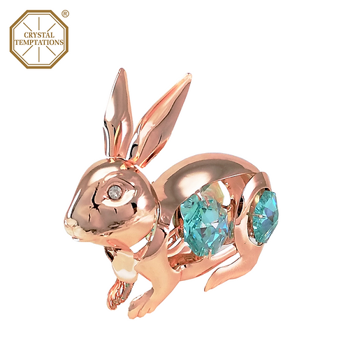 Rose Gold Plated Lacquered Figurine Hare with Swarovski Crystal