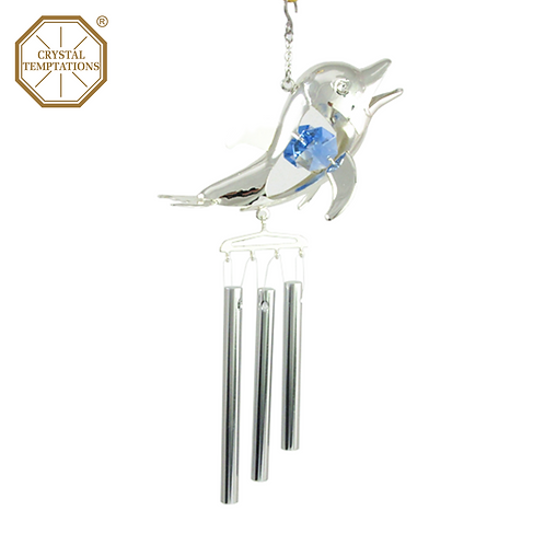 Silver Plated Dolphin with Swarovski Crystal Wind Chimes