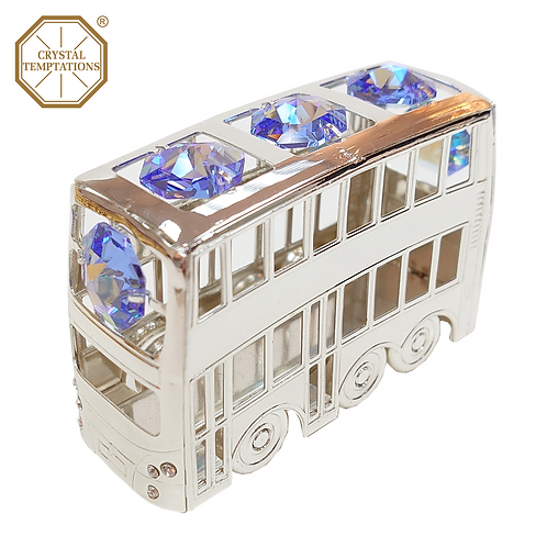 Silver Plated Decoration Bus with Swarovski Crystal