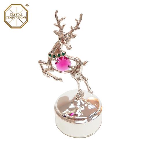 Silver Plated Christmas Reindeers with Swarovski Crystal Music Box